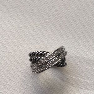 Silver tone crossover ring
